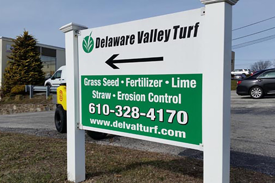 The road sign for Delaware Valley Turf