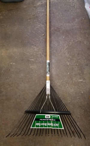 "24"" metal leaf rake sold by the specialists at Delaware Valley Turf in Bryn Mawr PA"