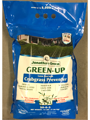 Green-Up Crabgrass Preventer 20-0-3 sold by the professionals at Delaware Valley Turf in Newtown Square PA